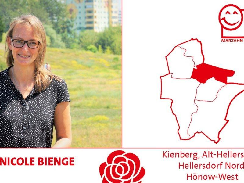 Nicole Bienge kanididert im Wahlkreis Kienberg, Alt-Hellersdorf, Hellersdorf Nord, Hönow West für die SPD Marzahn-Hellersdorf